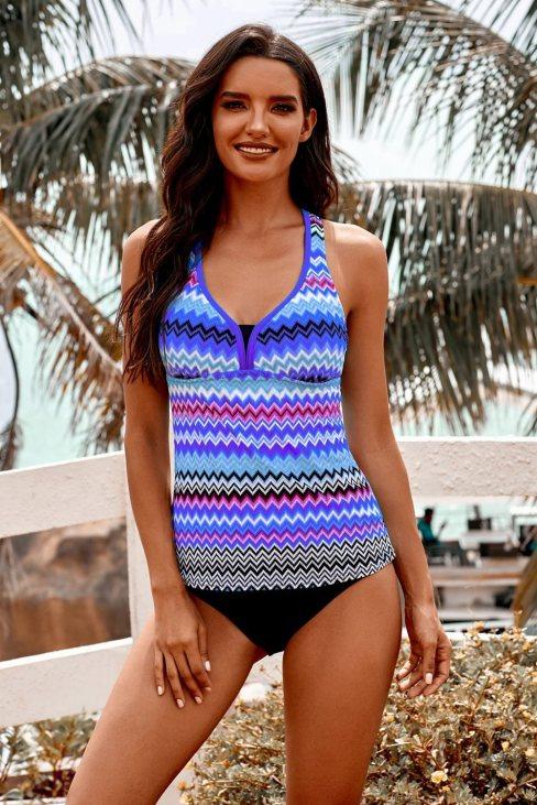 Stephanie Women Wave Stripe Racerback Tankini Swimsuit Purple