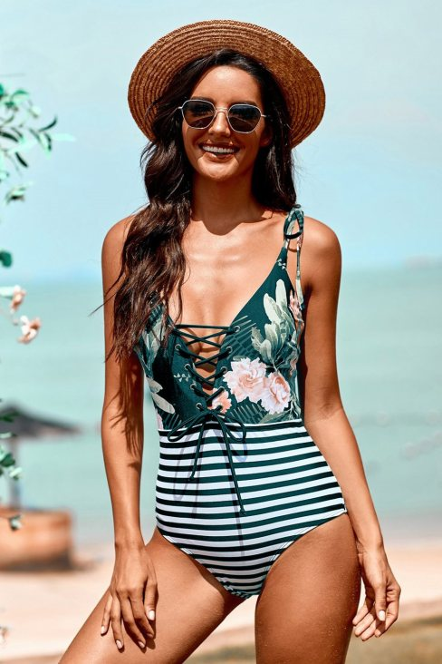 Susannah Women's Floral and Striped Lace-up One-piece Swimwear Green