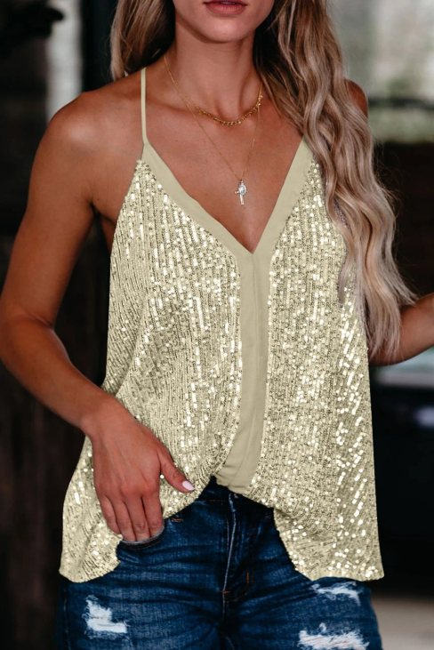 Theresia Womens Sequin Racerback Apricot