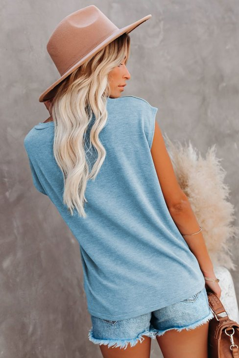 Valerie Women Knit Pocketed Tee with Side Slits