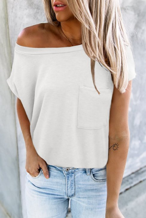 Valerie Women Pocketed Tee with Side Slits Beige