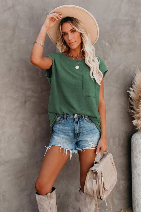 Valerie Women Pocketed Tee with Side Slits Green