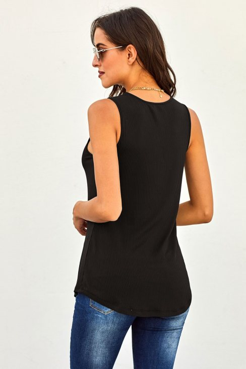Vanessa Women's Just Say The Word 3 Button Tank Top Black