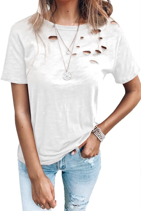 Venus Women Holes Crew Neck Cotton Mixed T-shirt White