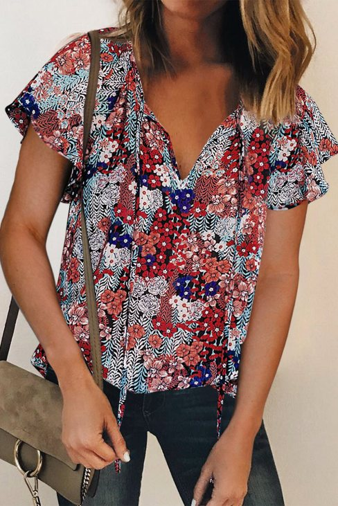 Vera Womens V-neck Short Sleeve Fashion Print Fantasy Fluttering Blouse Blue
