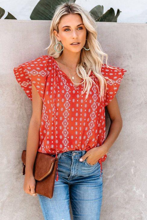 Vera Womens V-neck Short Sleeve Fashion Print Fantasy Fluttering Blouse Red