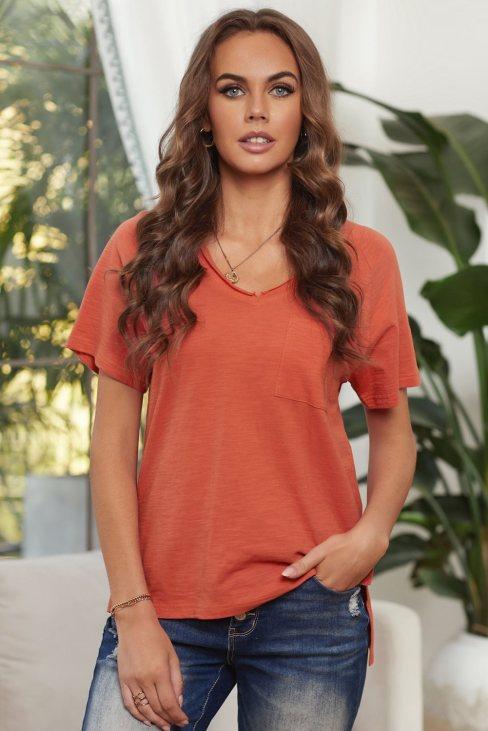 Viola Women's V Neck Short Sleeves Cotton Blend Tee with Front Pocket and Side Slits Orange