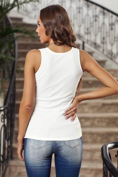 Xenia Women's Sleeveless Scoop Neck Button Tank Top White
