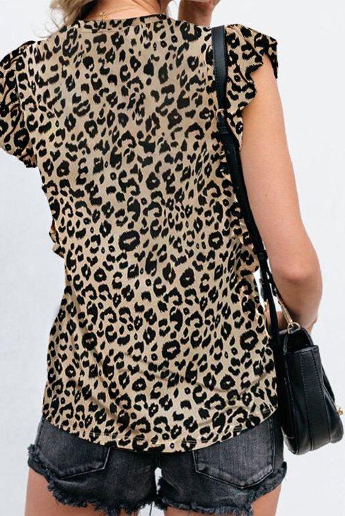 Yvette Women's Leopard Print Ruffled Cap Sleeve T-shirt