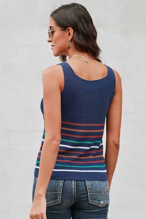 Yvonne Womens Stripes Black Knit Tank Top Blue