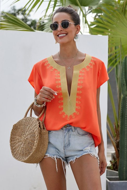 Zena Womens Short Sleeve Printed Neck Shift Blouse Orange