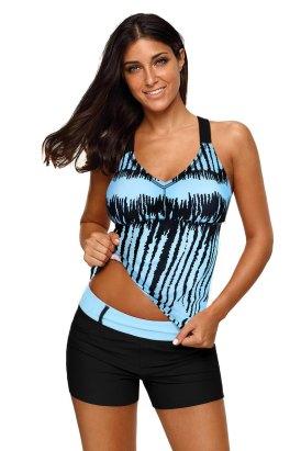 Aja Women's Stripes Strappy Back Tankini Top Sky Blue