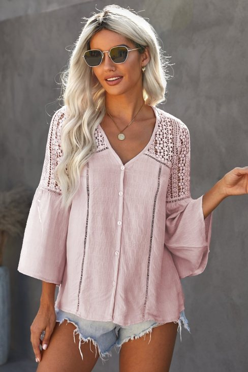 Amber Women Lace Crochet V Neck  Button Down Blouses Pink