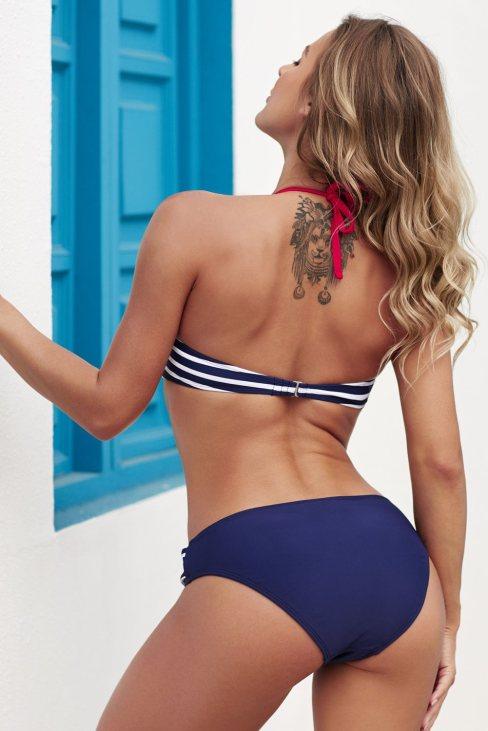 Badia Womens Push-up Halter Bathing Striped Bikini Bathing Set Black