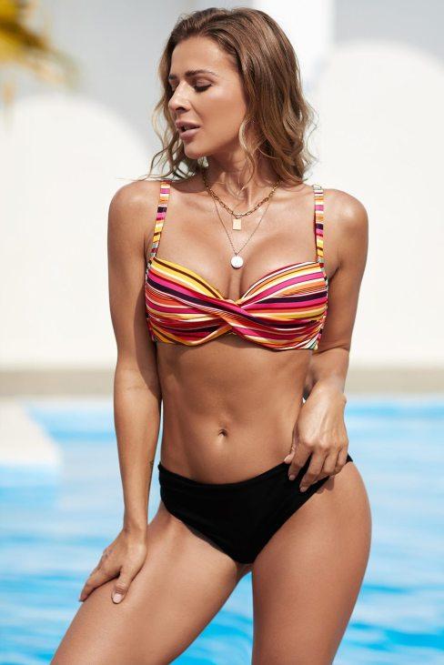 Camille Women Multicolor Twisted Bust Striped Bikini Set