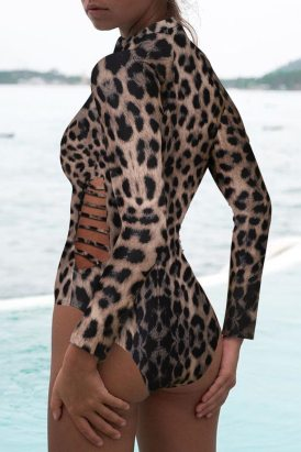 Carmen Women Leopard Print Zipper Cut-out Rash Guard Swimsuit