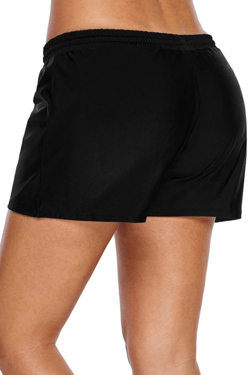 Carol Womens Elastic Drawstring Swim Shorts for Women Black