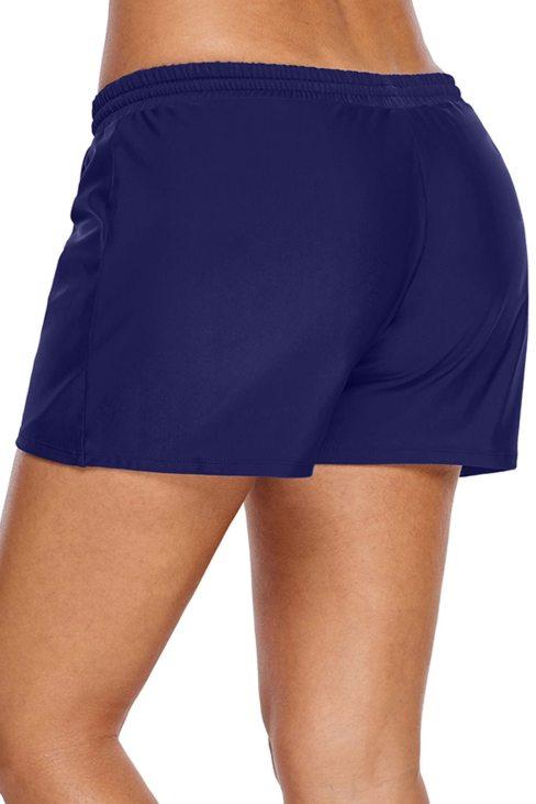Carol Womens Navy Blue Elastic Drawstring Swim Shorts for Women