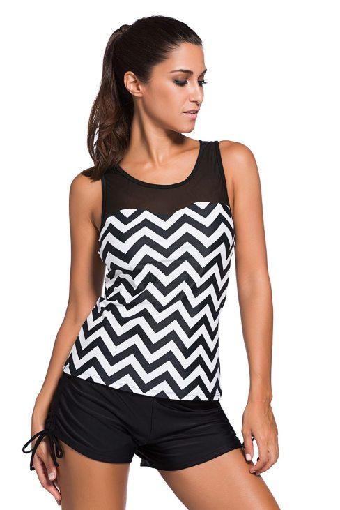 Chloe Women Black White Zigzag Print Mesh Splice 2pcs Tankini Swimsuit