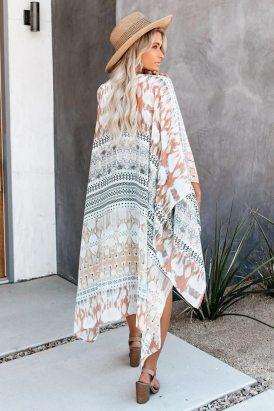 Claire Women Apricot Bohemian Floral Print Kimono