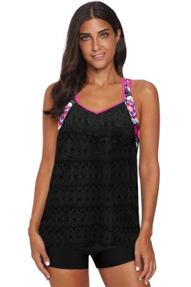 Greta Women's Printed Patchwork Vest Tankini Top Black
