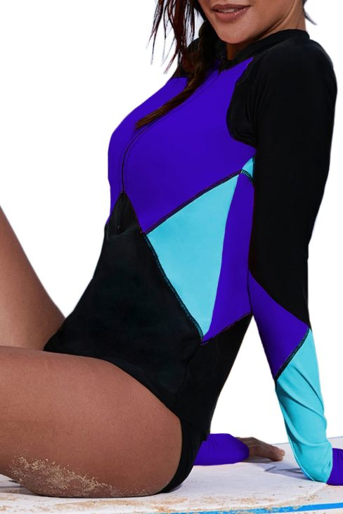 Nancy Womens Zip Front Color Block Print Long Sleeve Rashguard Top Blue
