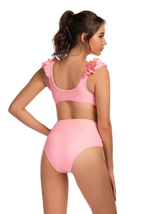 Beverly Women's Ruffle Push Up Bikini High Waist Swimsuit 3 Pieces
