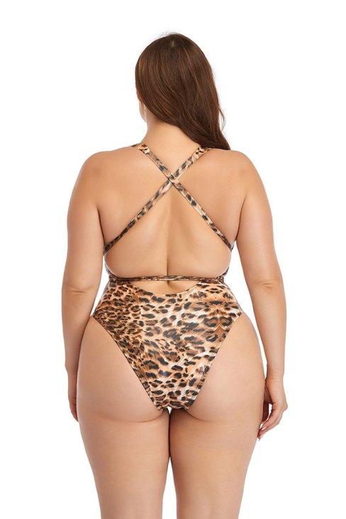 Edwina Women's Halter V Neck Plunge High Cut One-Piece Swimsuits Leopard