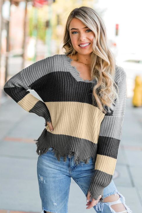 Abby Womens Colorblock Distressed Sweater Gray