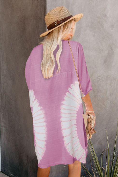 Alyssa Women Tie Dye Open Front Kimono Cardigan Pink