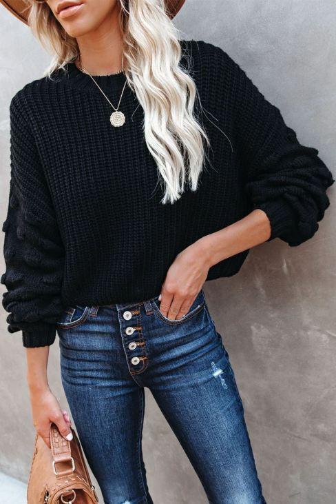 Bedelia Women's Cropped Knit Sweater Bubble Sleeve Black