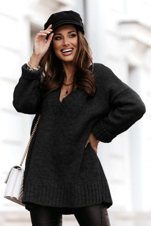 Dacey Women's Black V neck Drop Shoulder Knitted Sweater