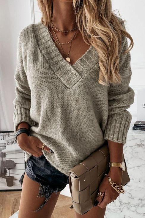 Dae Womens V neck Drop Shoulder Knitted Sweater Gray