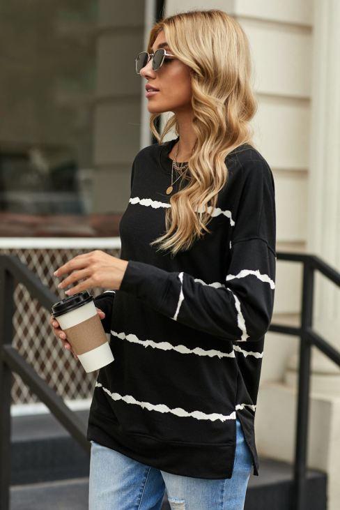 Edith Womens Black Sweatshirt Tie-dye Stripes