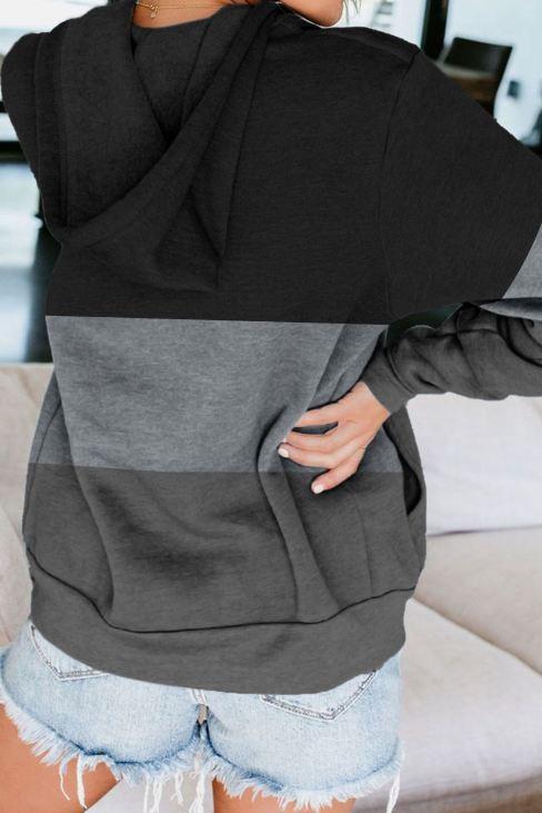 Edna Women's Black Zip Front Color Block Splicing Drawstring Hoodie