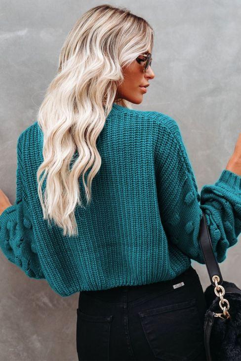 Emma Women Green Bubble Sleeve Cropped Knit Sweater