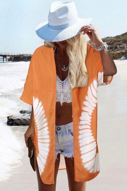 Grace Womens Tie Dye Open Front Kimono Cardigan Long Orange