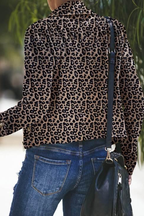 Nerissa Women Leopard Zipped Notch Collar Short Jacket