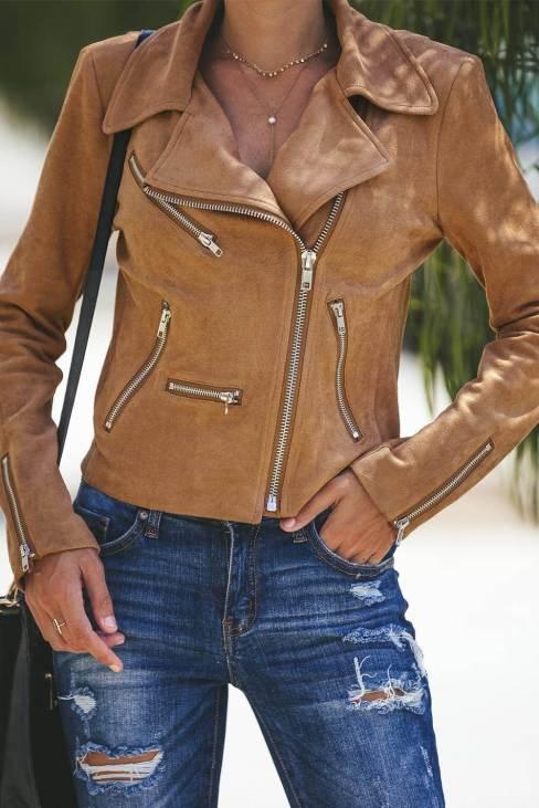 Nerissa Women's Brown Zipped Notch Collar Short Jacket