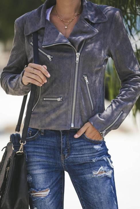 Neysa Women Zipped Notch Collar Short Jacket Dark Gray