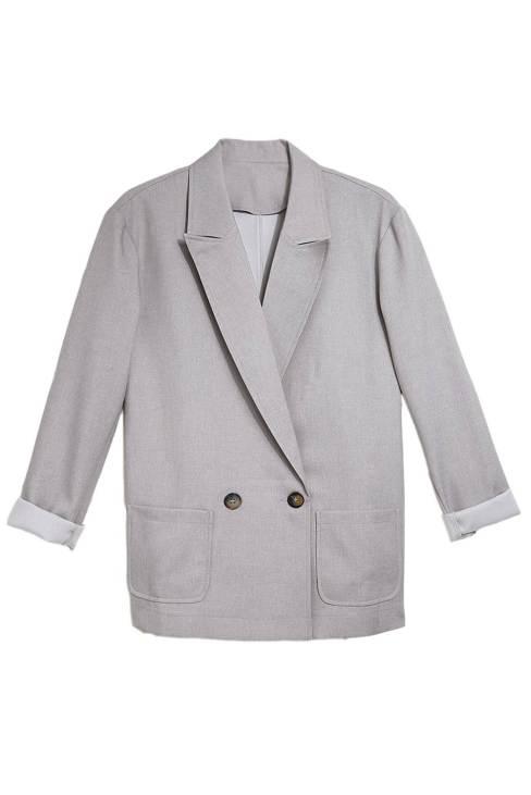 Nissa Womens Buttoned Lapel Collar Blazer with Pocket Gray