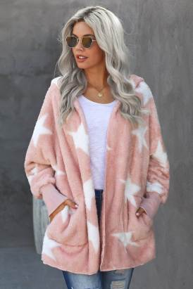Nita Women Lapel Collar Scatter Star Fuzzy Coat Pink