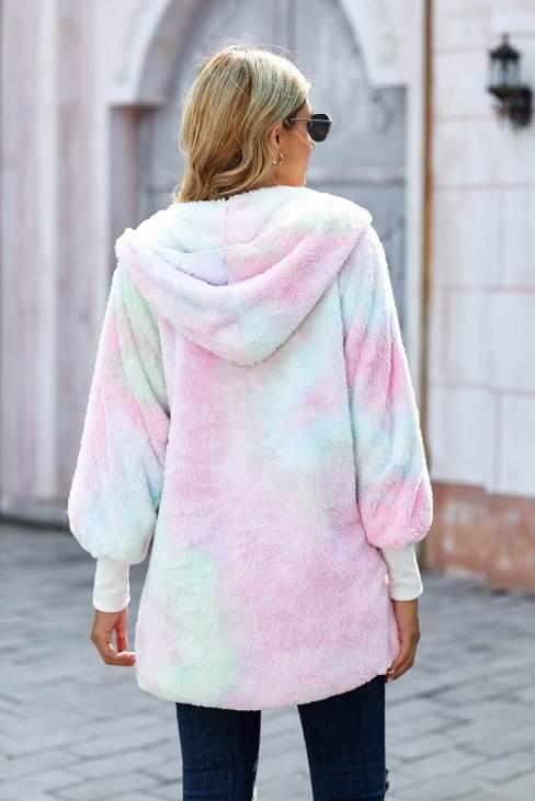 Nona Women Tie Dye Soft Fleece Hooded Open Front Coat Multicolor
