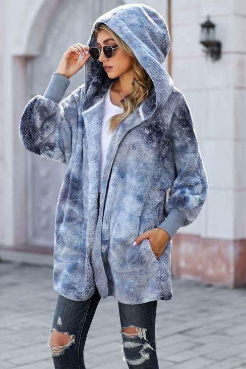 Nona Women's Tie Dye Soft Fleece Hooded Open Front Coat Blue