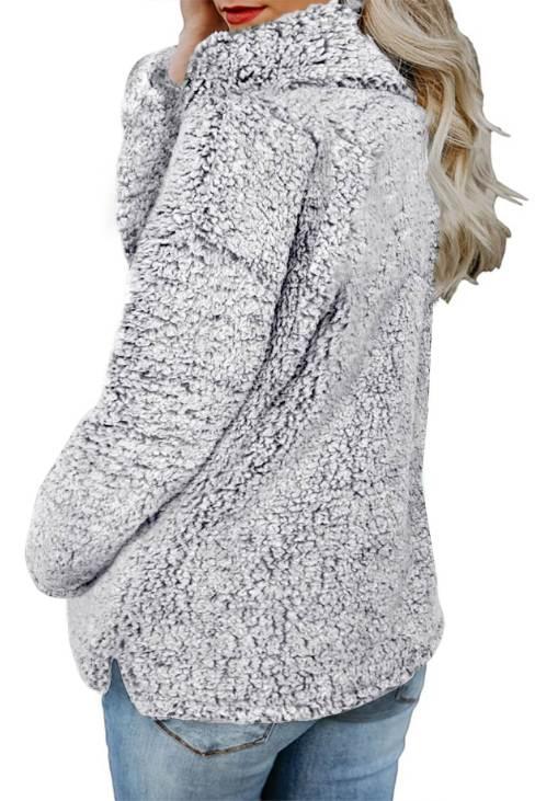Odetta Women Zipper Fleece Pullover Coat Gray