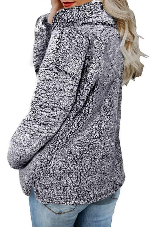 Odetta Women's Black Zipper Fleece Pullover Coat