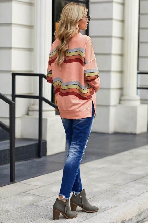Olga Women Color Block Classic Sweatshirt Pink