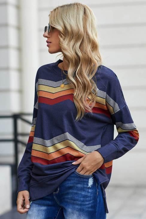 Olga Women's Blue Color Block Classic Sweatshirt
