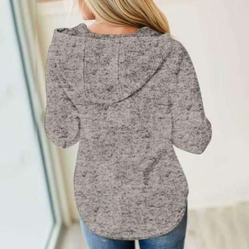 Olinda Women Heathered Print Button Snap Neck Pullover Hoodie