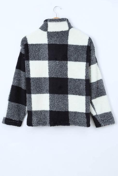 Ophira Womens Plaid Zip Collar Plush Pullover Sweatshirt Black